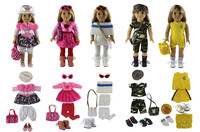 5 PCS Doll Clothes+2 Pairs Glasses+5 Pairs Shoes+2 Tights+5 Bags+2 Hats for 18'' American Girl Bitty Baby Doll S25