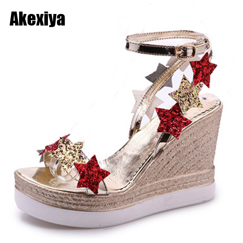 Women Stars Print Sandals 2018 Fashion Fish Mouth Platform summer shoes High Heels Wedge Sandals Shoes Five-Star Slope Sandals in the summer of 2016 the new wedge heels with fish in square mouth denim fashion sexy female cool shoes nightclubs
