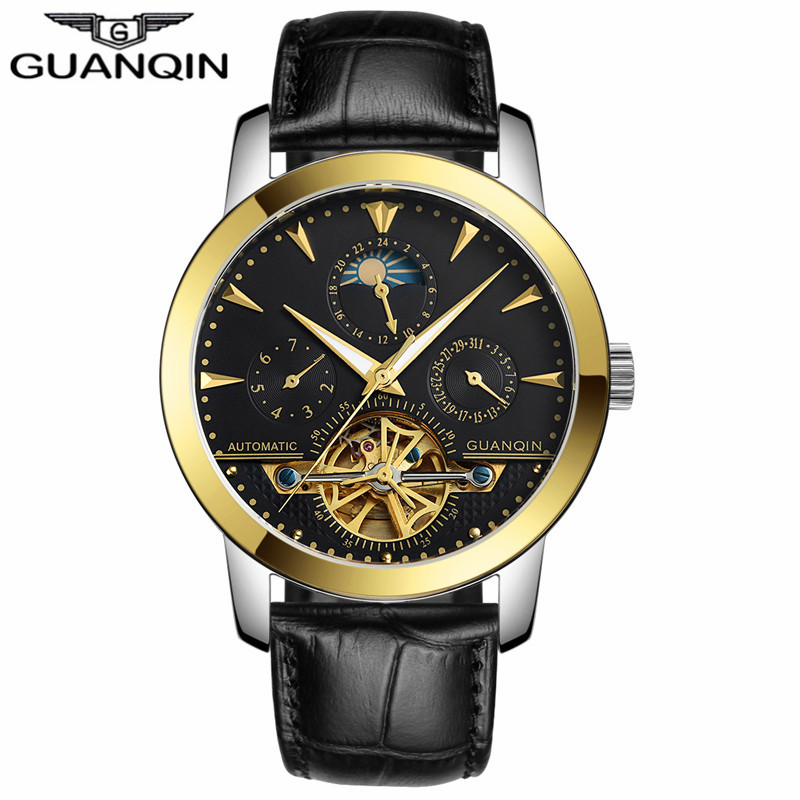 Guanqin 기계식 시계 남성 뚜르 비옹 가죽 스트랩 사파이어 자동 기계식 시계 방수 자동 태엽 시계-에서기계식 시계부터 시계 의  그룹 2