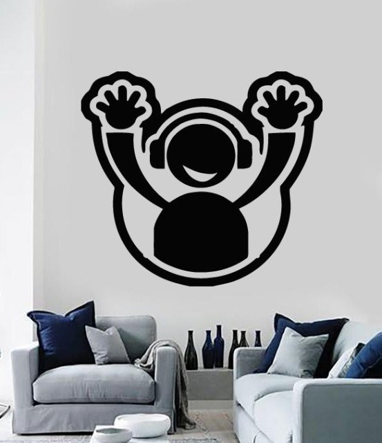 Aliexpresscom Buy Wall Sticker Vinyl Decal DJ Headphone Plate - Vinyl wall decals home party
