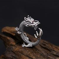 Solid 925 Sterling Silver Ring For Men China Dragon Cuff Band With Red Zirconia Stone Thai Silver Ring Mens Jewelry