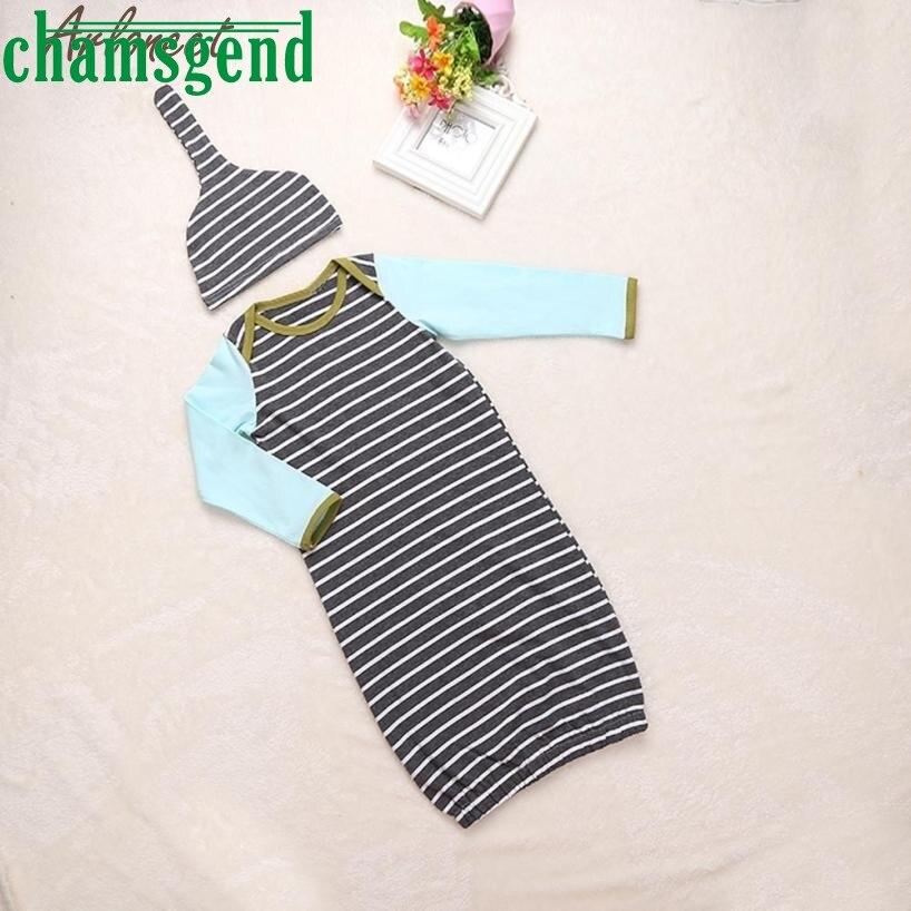 kids clothing set Children Set Baby Striped Onesie Boys Girls Creeper Bodysuit Pajamas Romper+Hat 1Set P30 fashion children db21
