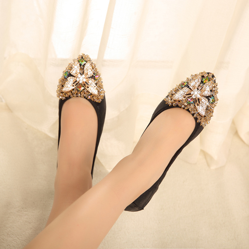 black Ballerines Cristal Papillon Pliable Silver Femme Chaussures gold Ballet Y41 Up Strass Fold Mocassins S1qwCpAx