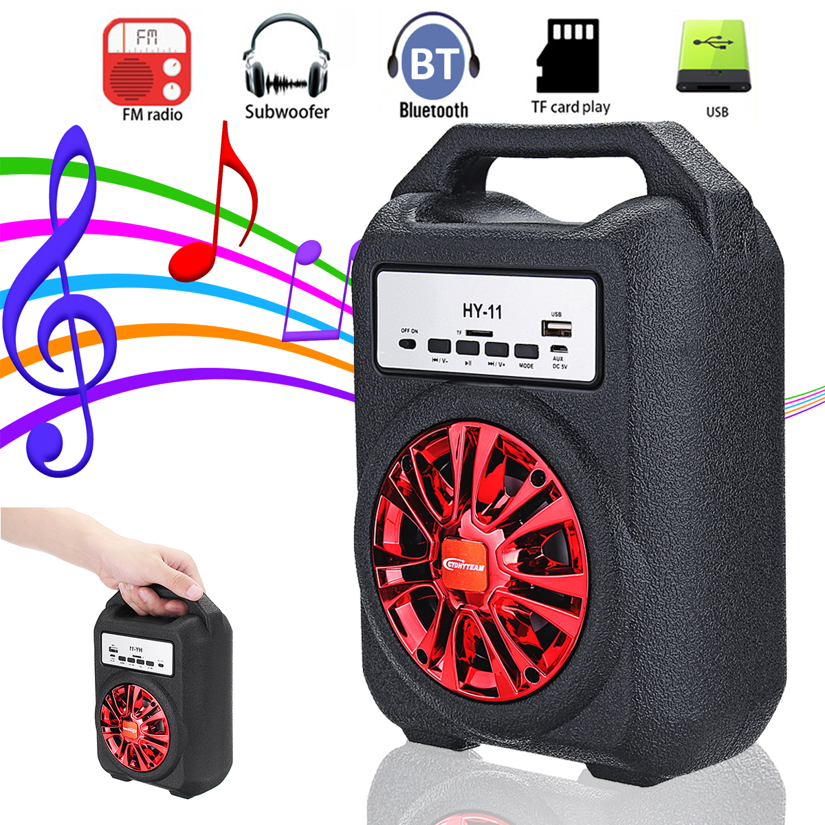 New Handle Bluetooth Speaker Portable Wireless Subwoofer Loudspeaker Sound System Outdoor Music Player Speaker With LED Screen