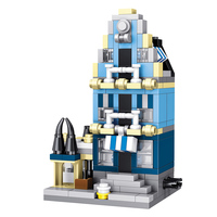 2 Loại Nhỏ Blocks Thiết Thành Phố Đường Phố Xây Dựng Thị Trường Châu Âu Màu Xanh Lá Cây Cửa Hàng Tạp Hóa Blocks Tương Thích LegoINGLYS Tạo Đồ Chơi
