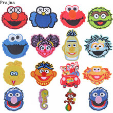 Prajna Sesame Street Patch Embroidered Patches For Clothing Iron On Clothes Stripe Anime Elmo Cookie Monster
