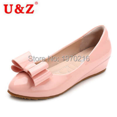 Korean stylish lovely bow Red patent Leather shoes small wedges,Plus big size women height increased shoes Autumn/winter 2016