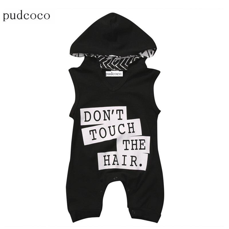 Младенческой новорожденных одежда для малышей Дети Обувь для мальчиков хлопок письмо одежда боди без рукавов комбинезон, костюм Летний Зак...