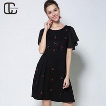 Summer Women Embroidery Cotton Plus Size Dresses Chiffon Short Sleeve Women's Casual Elegant Dress Black Woman Clothing 5XL