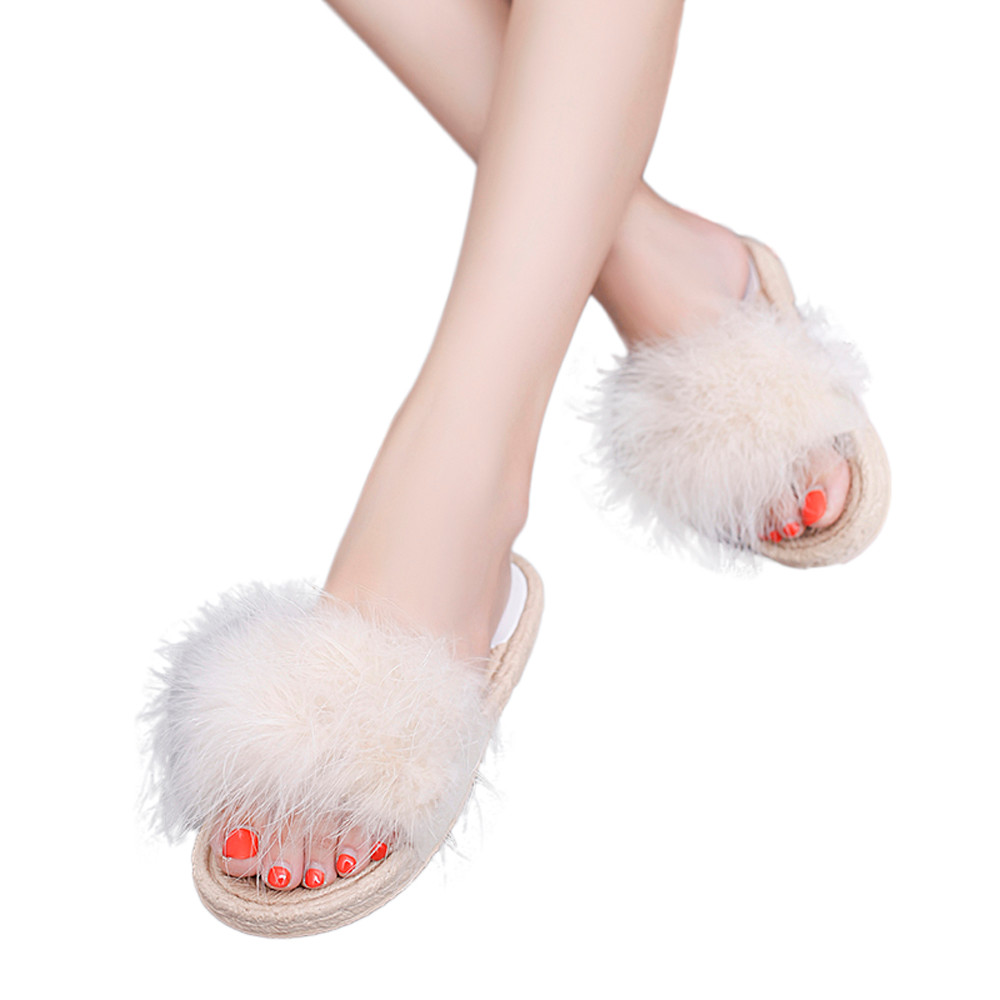 0e65e5563ea Summer slippers Women Fashion Sandals shoes Hairball Indoor Outdoor Flat  Heel Sandals Slipper Beach Shoes 2018