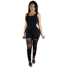 Black Sleeveless Bodysuit High Cut Hollow Out Full Length Rompers