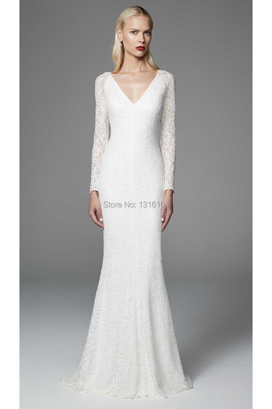 2016 simple modest mermaid lace wedding dresses with long for Simple wedding dresses under 200