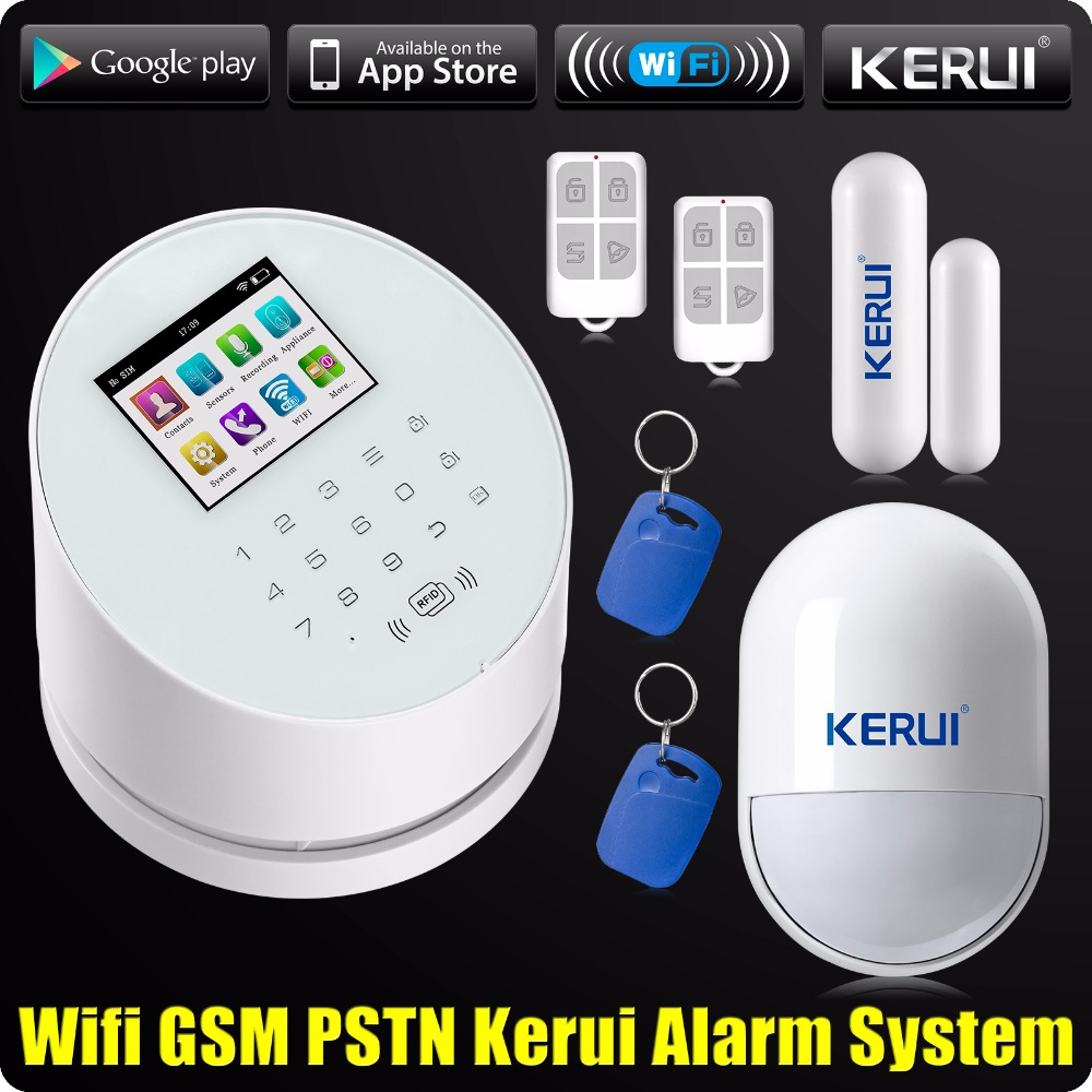 2016 KERUI W2 WiFi GSM PSTN RFID Home Alarm Security System TFT color LCD Display Ios Android App remote Control 2017 phone app wifi alarm system wireless kerui w2 wifi gsm pstn line telephone alarm system suit wifi ip camera rfid disarming