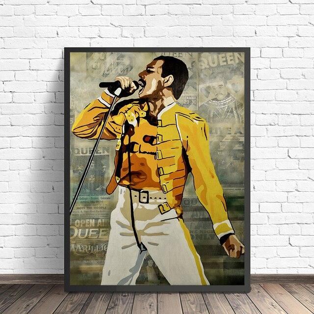 Фредди Меркьюри плакат королева Группа настенные наклейки холст для маслянной печати живопись, декоративная картина для офиса спальни домашний декор