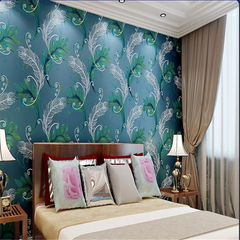 beibehang Chinese Peacock Feather Flower Living Room Background papel de parede 3d Wallpaper High Foam Nonwoven Wallpaper Bedsid beibehang peacock deep blue feather