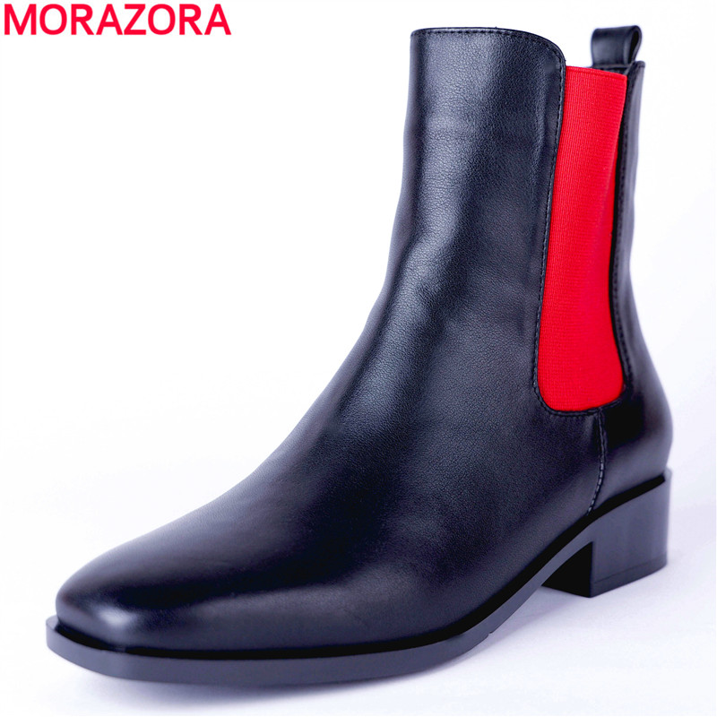 MORAZORA 2018 top quality genuine leather ankle boots for women square toe autumn winter Martin boots fashion punk ladies shoes high quality full genuine leather boots round toe buckle autumn winter riding martin boots punk women ankle boots