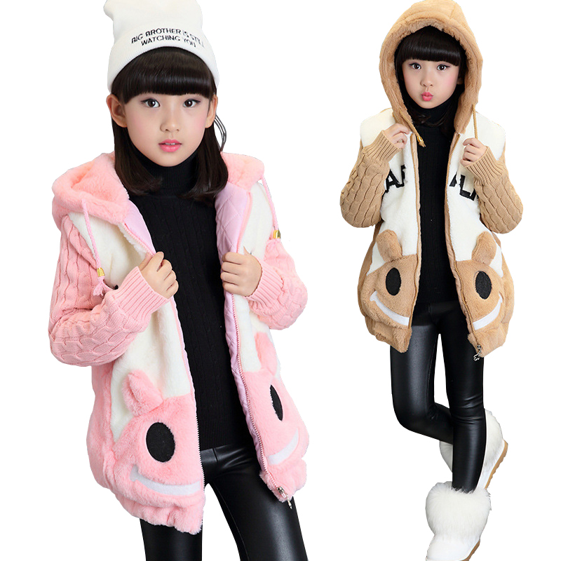 New Winter Children Fur Coat Girls Faux Fur Jacket Wadded Thickening Jacket Girl Wadded Coat Kids Cotton Winter Outerwear Hooded 2015 new mori girl wave raglan hooded loose sleeve medium long wadded jacket female