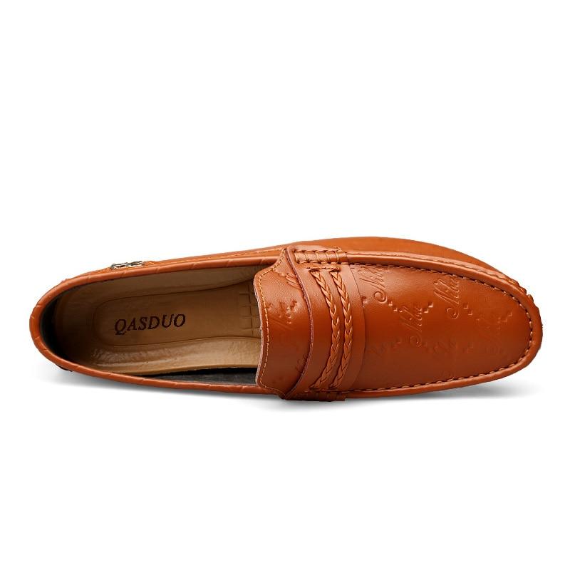black Respirável Verão Dos Moda Luxo Qasduo Couro Homens Primavera blue Em Condução Sapatas Sapatos Orange Deslizamento Loafers Casuais Marca white Genuíno De Flats qETRt