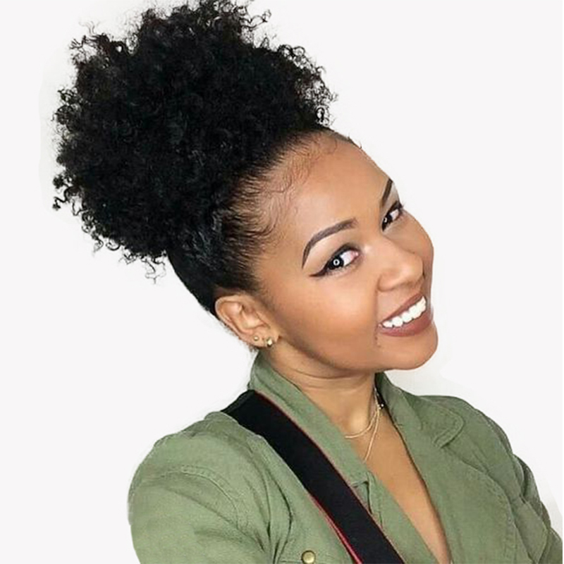 Afro Kinky Curly Hair Ponytail Mongolian Clip In Human Hair Extension Natural Color You May Remy