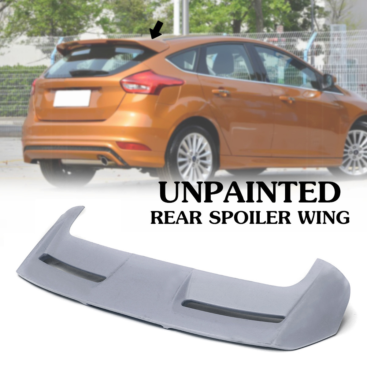 ABS Unpainted Rear Roof Spoiler Wing Fit For Ford Focus ST
