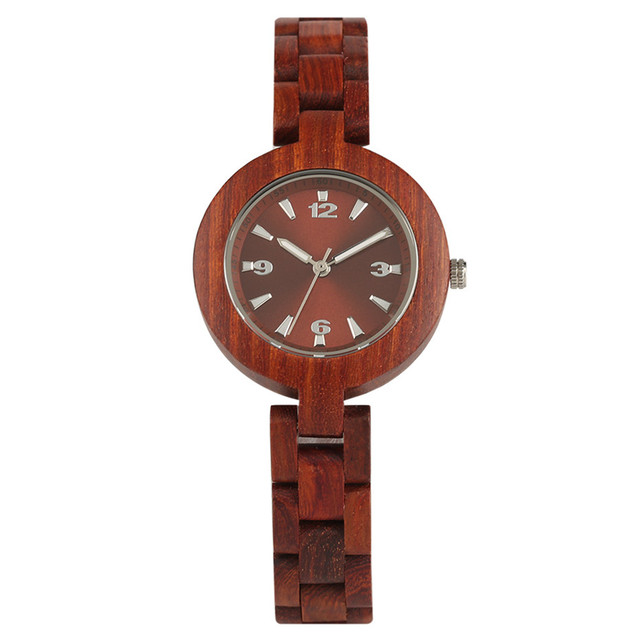 Red Brown Color Full Wooden Women's Bracelet Watches Elegant Small Dial Lady Wri