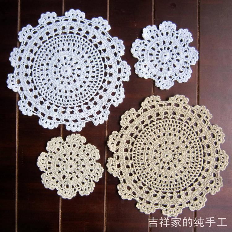 Free shipping fabric doilies cotton knitted circle cup heat insulation pad  mat coaster placemat 5piclot round felt for home
