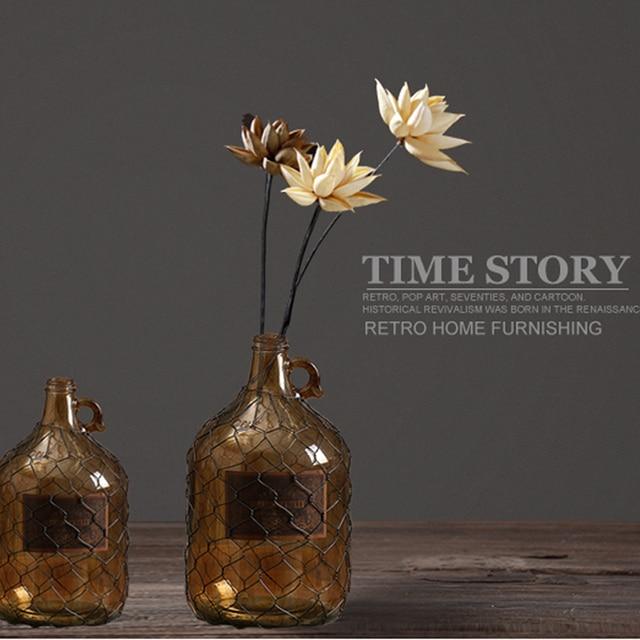 American Village Retro Electroplate Glass Vase Vintage Dried Flowers