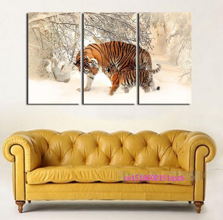 Nový příjezd modulární 3-dílné plátno umění nástěnné malby sníh Forset Baby tygr a MOM obrázek Mateřská místnost Dekor Zvířecí fotografie