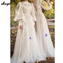 Muslim Wedding Dress High Neck A-Line Long Sleeves Tulle Lace Illusion Vestido De Noiva Dubai Arabic Wedding Gown Bridal Dress