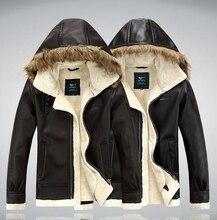 Горячая кожа мужчин осень зима мужчины меховой воротник утолщение и шерсть кожаное пальто из нравственность мужскую кожаную куртку