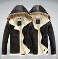 Hombre de cuero calientes otoño invierno hombre cuello de piel engrosamiento y lana abrigo de cuero de cultivan de la moralidad de hombre chaqueta de cuero