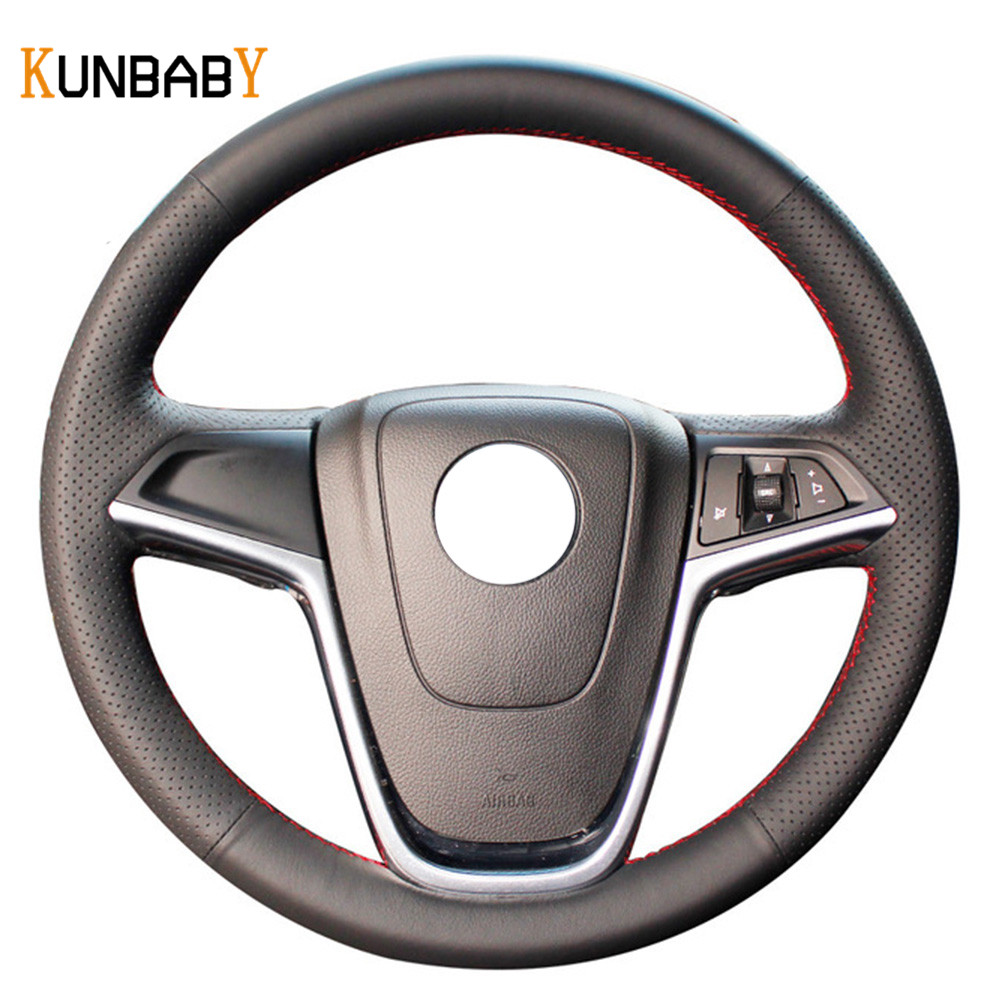 KUNBABY Color Black Red Genuine leather Car Steering Wheel Cover for Buick Excelle XT GT Encore Opel Mokka