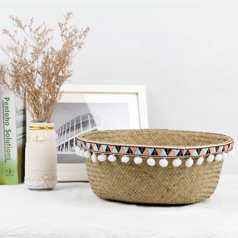 Seagrass Cesta do Armazenamento de Palha Feitos À Mão Barriga Organizador Planta Potes Berçário Saco de Lidar Com Planta Bonsai Pote Plantador Da Flor Do Jardim Deco