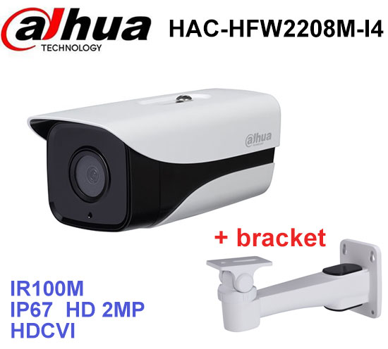 Dahua HDCVI Camera DH-HAC-HFW2208M-I4 HD 1080P 2MP built-in 2 leds IR 100m security cctv Camera with bracket