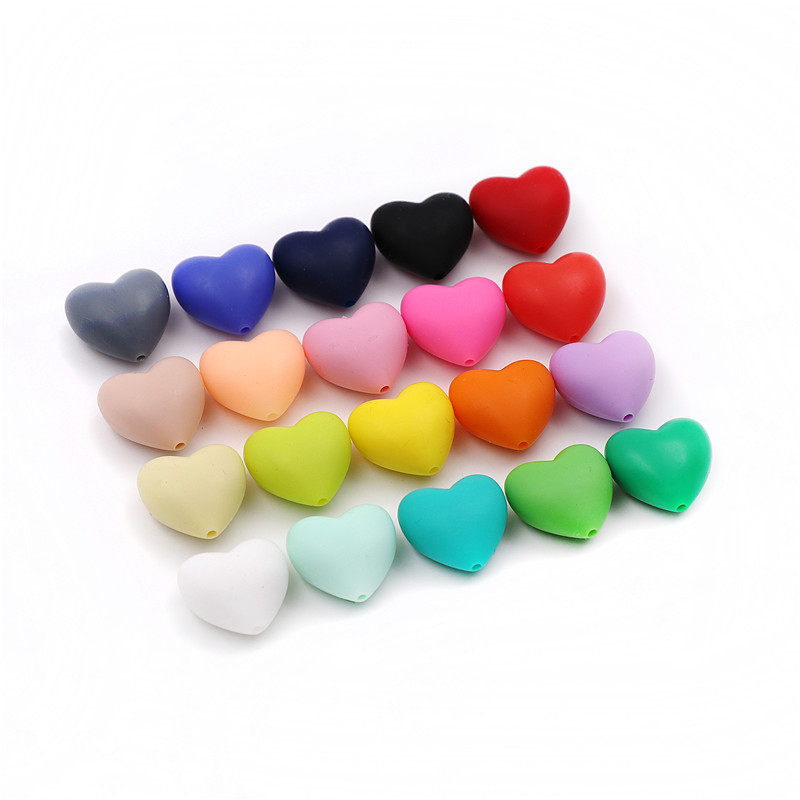 JOJOCHEW 20pcs Silicone Heart Beads BPA Free Teething Beads For Pacifier Chain Baby Care Jewelry Necklace Making 19 Colours