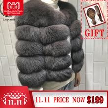 Yz Furture Women Warm Real Short Slim Winter Genuine Fur Jacket Outwear Fox Fur