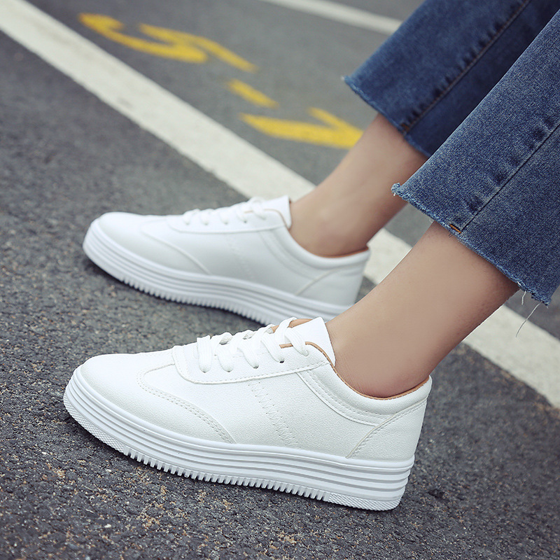 2020 White Shoes Women Sneakers Casual Women Flats Brand Sneakers Female Footwear Thick Sole Height Increasing Shoes 3cm YX1526