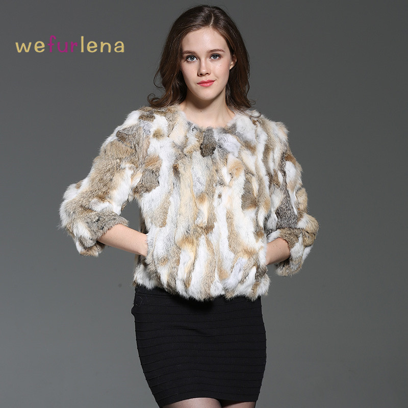 Welfurlena Hot Sale O neck Rabbit Fur 2017 Real Rabbit Fur Coat Women Fashion Winter Natural