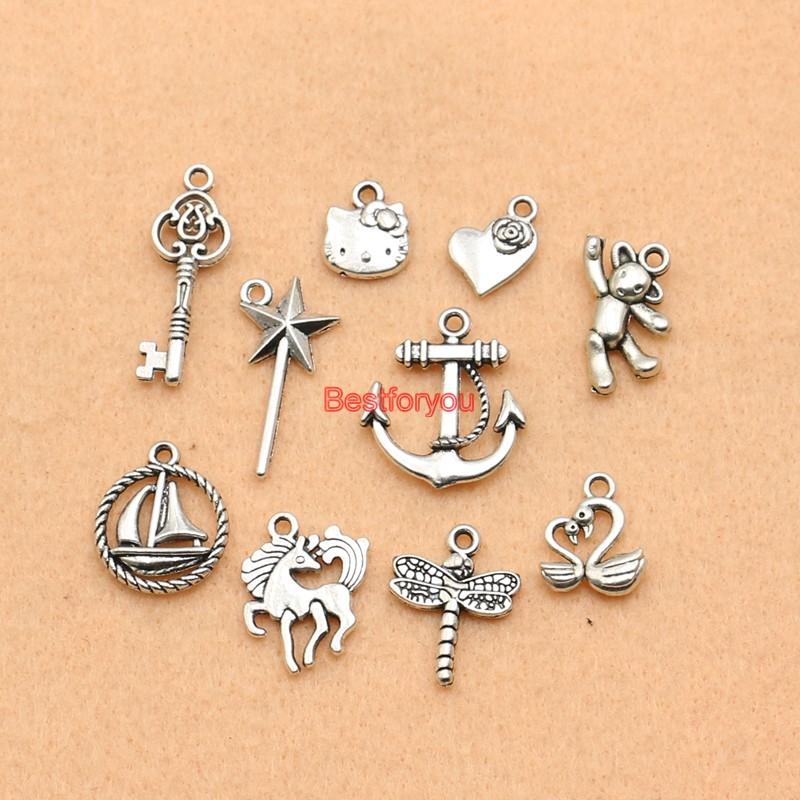 Mixed Antique Silver Plated Heart Cat Key Star Horse Charms Pendant Jewelry Making Diy Charm Handmade Crafts M065
