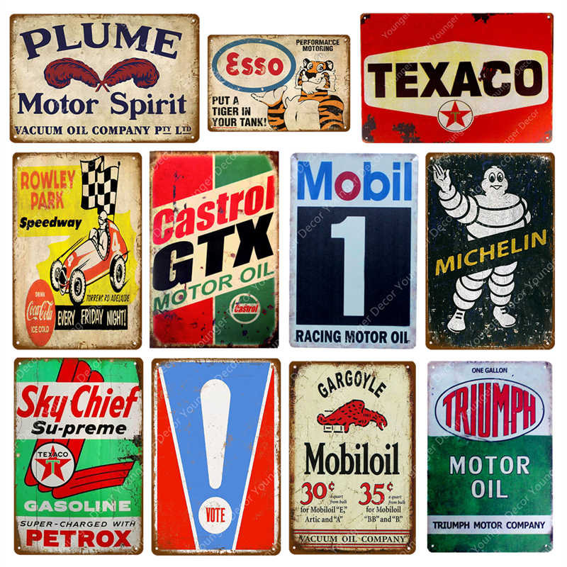 Vote Mobil Triumph Castrol GTX Motor Oil Metal Signs Vintage Tin Poster Decor For Pub Bar Garage Wall Stickers Art Plaque