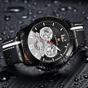 Image 3 - NAVIFORCE Creative Mens Watch Fashion Sports Watches Waterproof Leather Analog Quartz Wrist Watch Men Clock Relogio Masculino