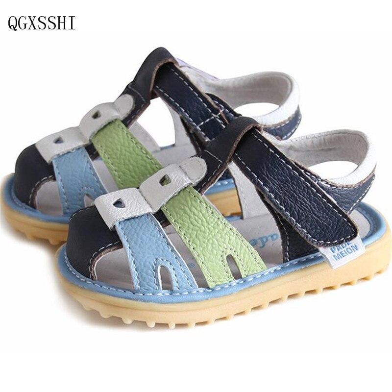 QGXSSHI Summer new Children Sandals Genuine Leather Kids Breathable Shoes Boys Baby Cowhide Sandals Girls non-slip Soft Sandals