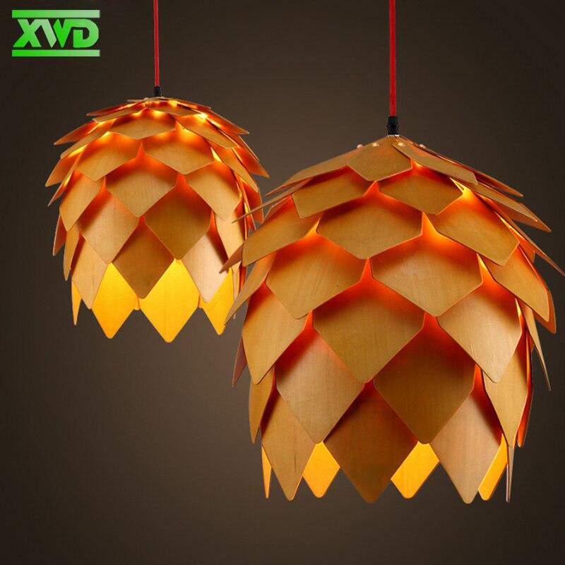 Style Rural bois pin cônes suspension lampe E27 porte-lampe 110-240 V café/salle à manger/Foyer éclairage intérieur livraison gratuite
