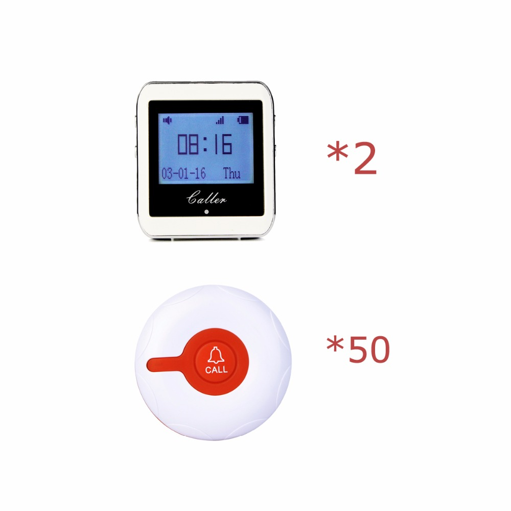 2 pcs 999 Channel RF Wireless Wrist Watch Receiver For Fast Food Shop Restaurant Calling Paging System 433MHz +50 Button F3288B wireless pager system 433 92mhz wireless restaurant table buzzer with monitor and watch receiver 3 display 42 call button