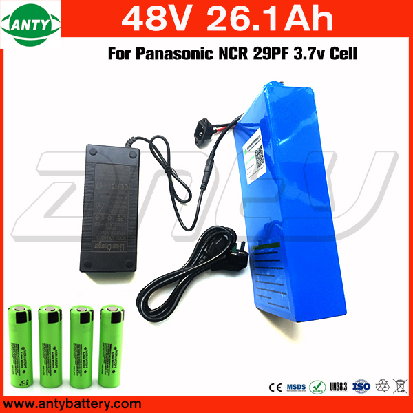 For Panasonic 18650 Cell Lithium Battery Pack 48v 26Ah with 54.6v 2A Charger 50A BMS Electric Bicycle Battery 48v Free Shipping 48v 34ah triangle lithium battery 48v ebike battery 48v 1000w li ion battery pack for electric bicycle for lg 18650 cell