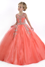 Luxury Crystal Coral flower girl pageant dresses 2015 New arrival Cinderella Girl Ball Gown Prom Party Dresses vestidos infantis