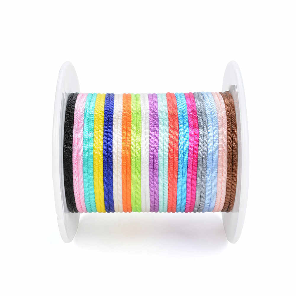 ¡Venta al por mayor! Cordón de nailon de 20 m/lote para collar de dentición, cordones de satén, Clip, accesorio para cadena, juguete de dentición para bebé DIY