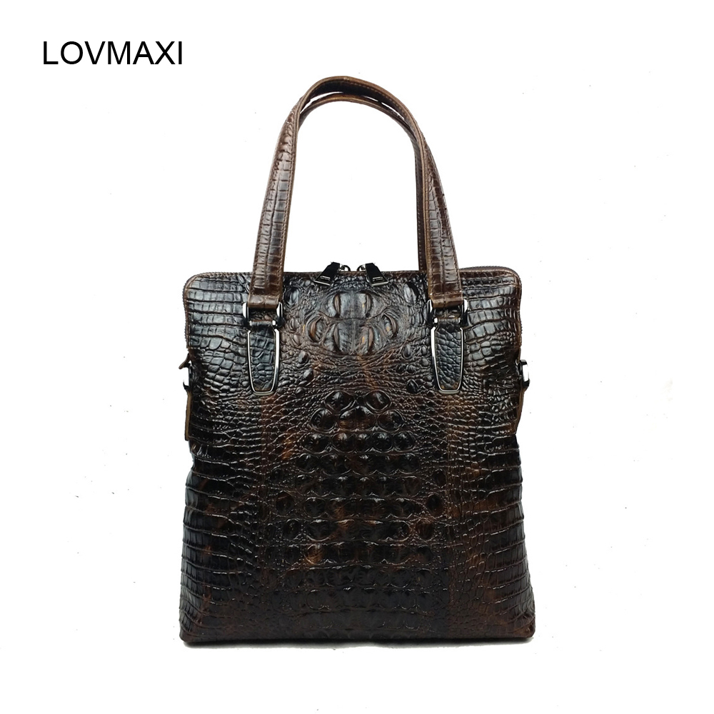 ФОТО Newest Men Genuine leather briefcases Male crocodile embossed real cow leather shoulder bags Coffee handbags Business bag 2015