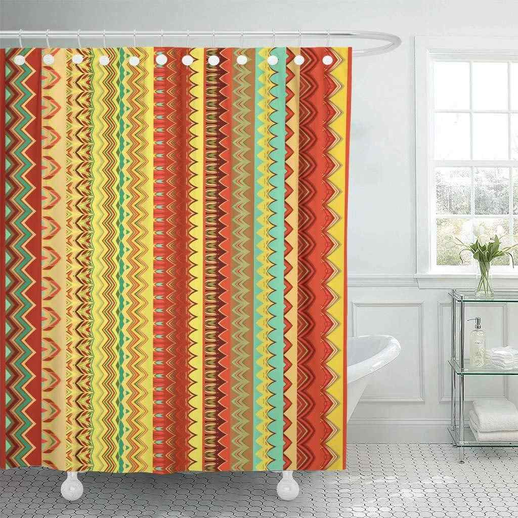 Shower Curtain Aboriginal Ethnic Pattern Tribal of Borders Abstract Abstraction African Ancient Beauty Decorative Bathroom