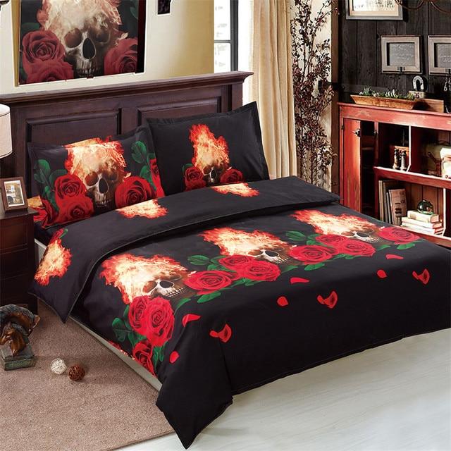 red rose black bedding set fire skull duvet cover set halloween bed sheets bed linens pillowcase